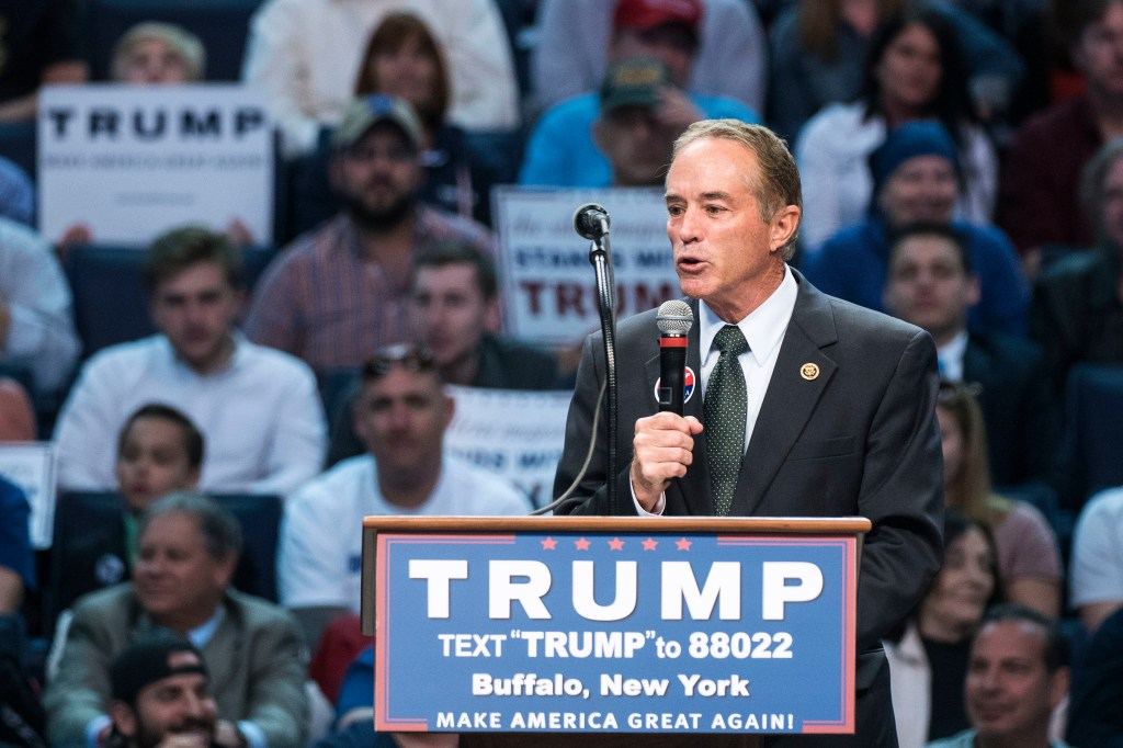 UNITED STATES - APRIL 18 - Republican presidential candidate Donald Trump speaks at a campaign rally at the First Niagara Center, in Buffalo, N.Y., Monday, April 19, 2016. Rep. Chris Collins, pictured, was the first congressional endorsement for Trump. (Photo By Al Drago/CQ Roll Call)