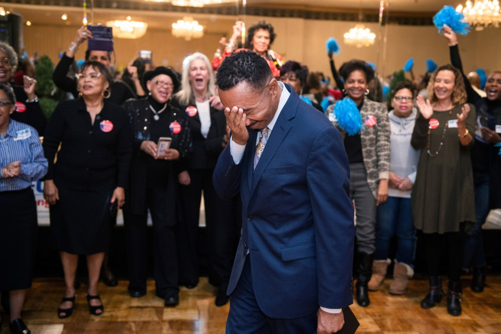 Kweisi Mfume, Democratic candidate for Maryland's 7th Congressional District, arrives at a campaign rally in Baltimore, Md., on Sunday. (Tom Williams/CQ Roll Call)