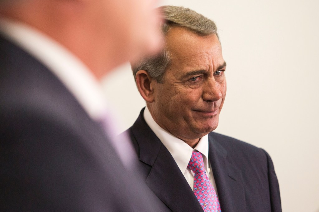 UNITED STATES - OCTOBER 27 - Outgoing Speaker of the House John Boehner, R-Ohio, shows emotion during his last weekly press conference of his tenure as Speaker, on Capitol Hill in Washington, Tuesday, October 27, 2015. House GOP leaders are trying to pass a two-year budget deal before Boehner resigns on Thursday, October 29, 2015. Although conservatives are trying to intervene, Boehner is relying on Democratic support to pass the bill. (Photo By Al Drago/CQ Roll Call)