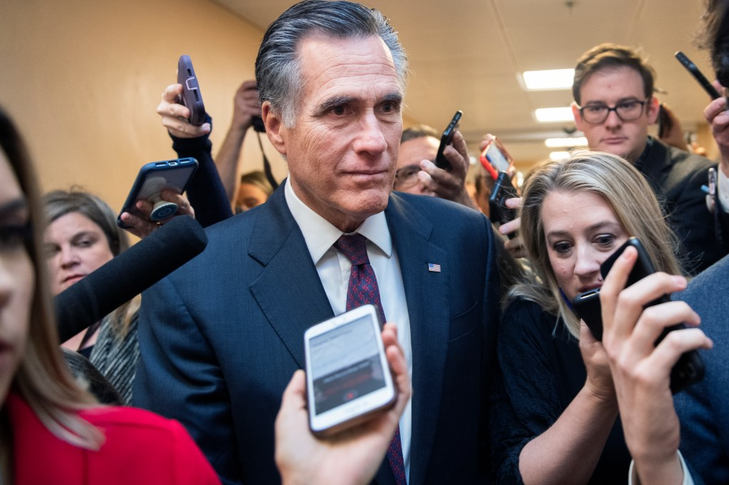 UNITED STATES - JANUARY 28: Sen. Mitt Romney, R-Utah, talks with reporters in the senate subway before the continuation of the impeachment trial of President Donald Trump on Tuesday, January 28, 2020. (Photo By Tom Williams/CQ Roll Call)