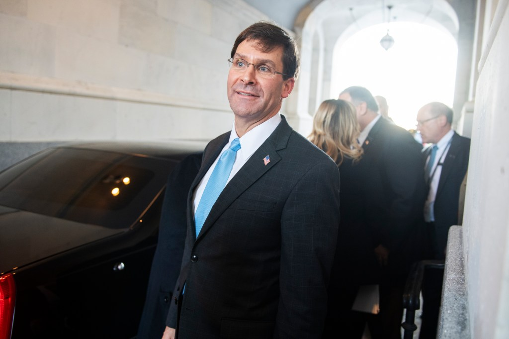 UNITED STATES - JANUARY 8: Secretary of Defense Mark Esper leaves the Capitol after a briefing with Senators on the latest developments on Iranian airstrikes in Iraq on Wednesday, January 8, 2020. (Photo By Tom Williams/CQ Roll Call)