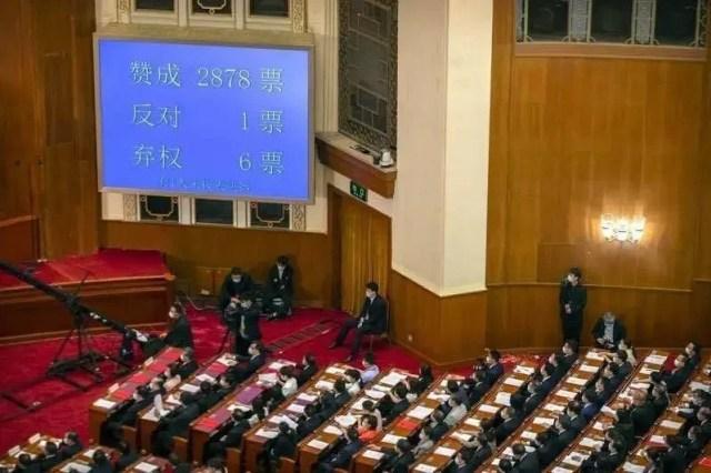 中國全國人大以2878票贊成、1票反對、6票棄權,表決通過「港版國安法」。路透