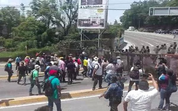 Protesters were halted by police in Oaxaca today.