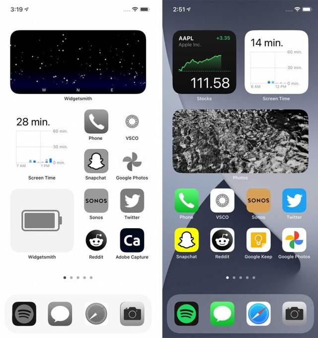 ios 14 custom vs plain home screen