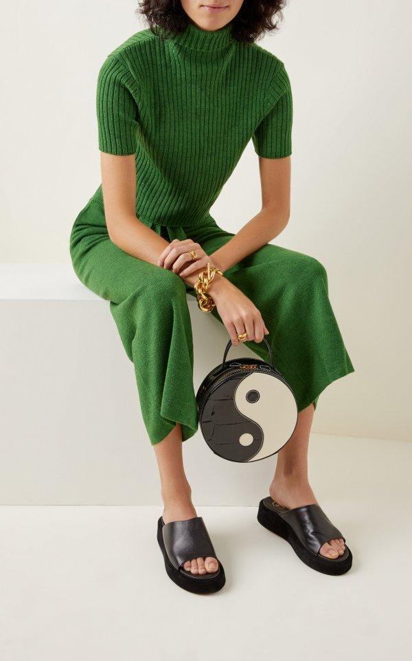Staud Yin Yang Croc-Effect Leather Shoulder Bag