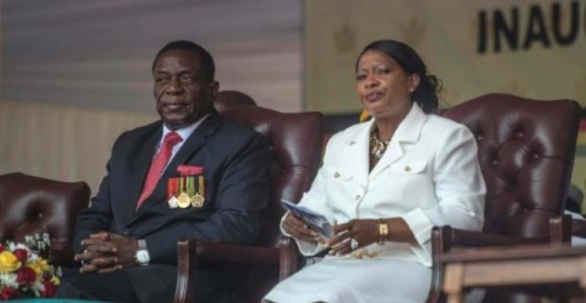 New President Emmerson Mnangagwa and his wife Auxilia at the inauguration: China denies any role in his ascent.  By MUJAHID SAFODIEN (AFP/File)