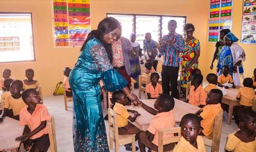 Mrs. Oteng-Gyasi interacting with the children