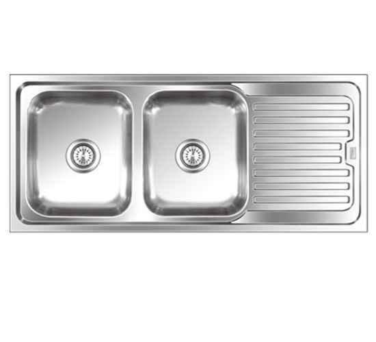 steelkraft dsdb 121 double bowl stainless steel sink with drain board size 20x16 inch