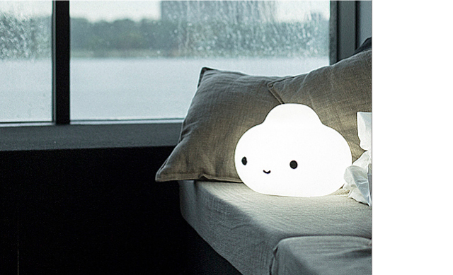 Unique Lamps Tiny Cute Cloud Friend Lamp on Bed in Gray Bedroom