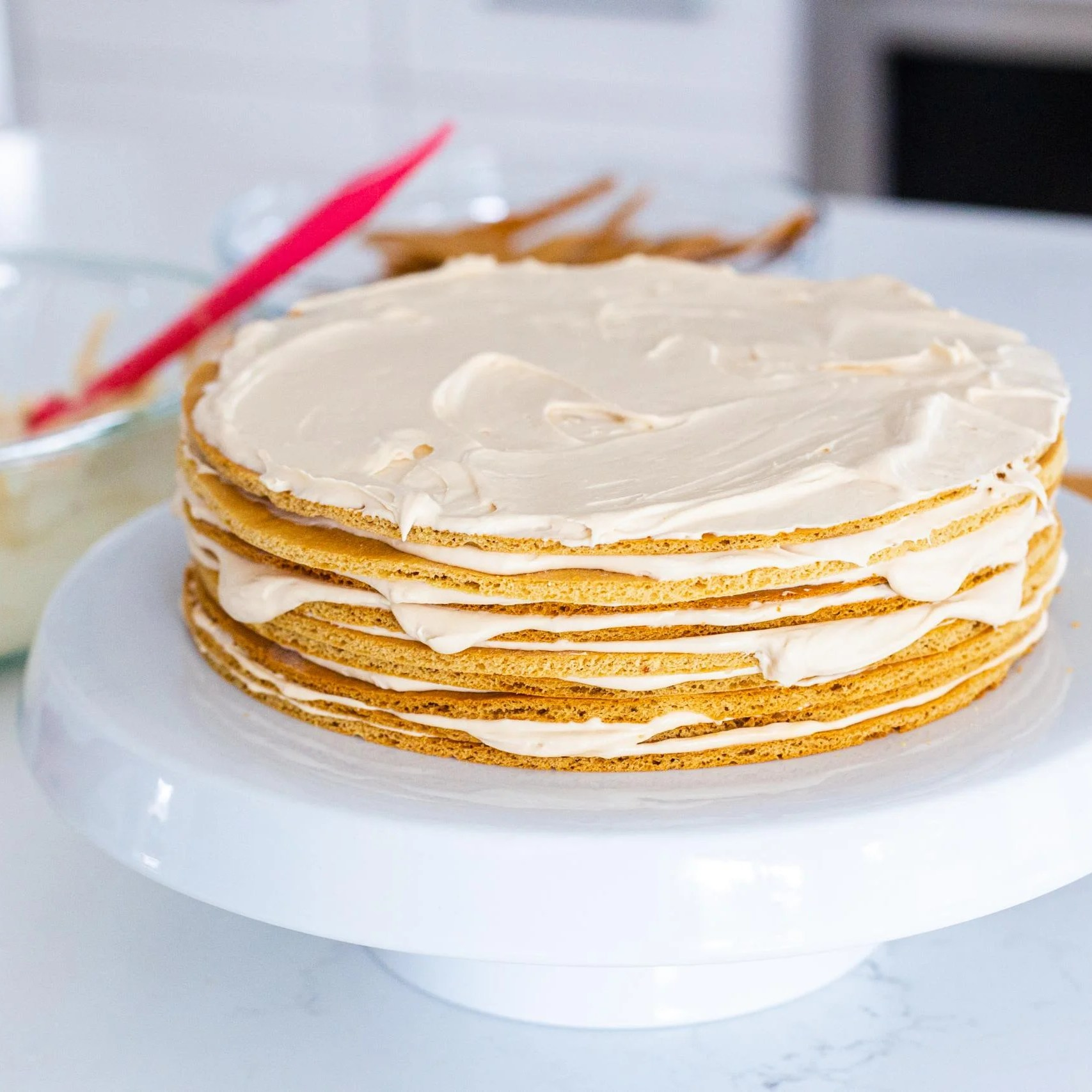 Honey cake layers with cream in between
