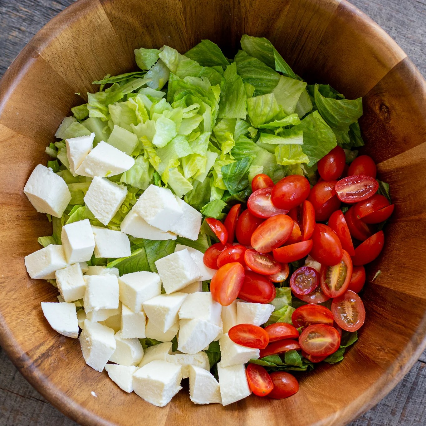 Salad ingredients in a bowl