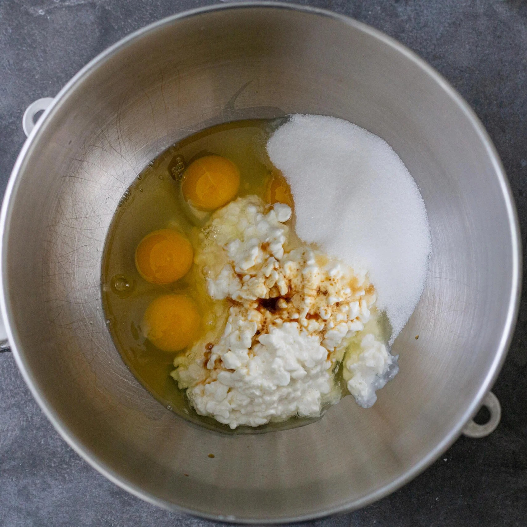 eggs sugar and cottage cheese