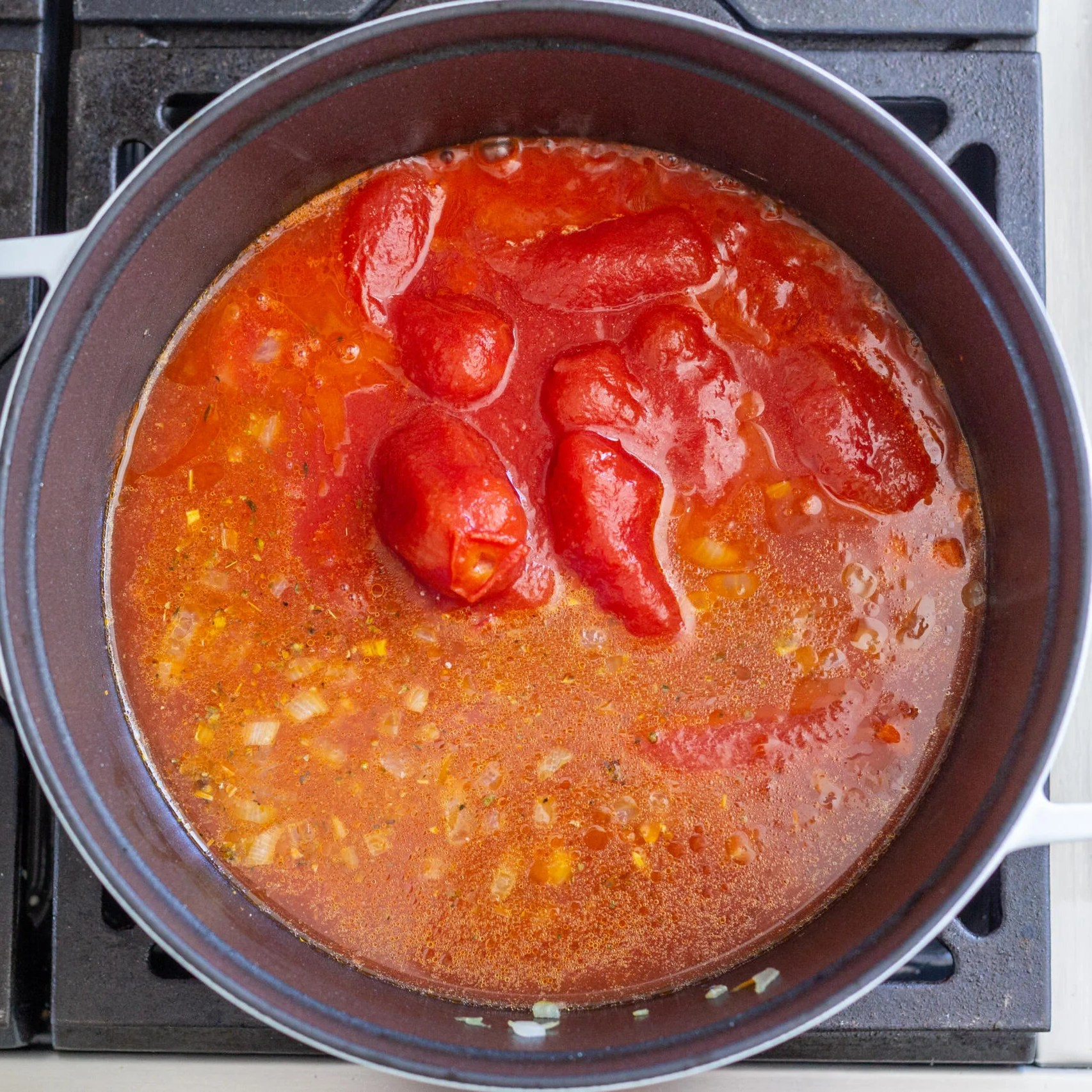 broth simmering with tomatoes and broth