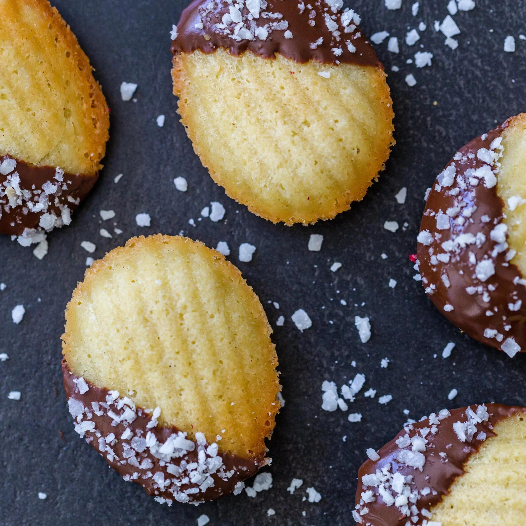 Madeleine cookies dipped in chocolate