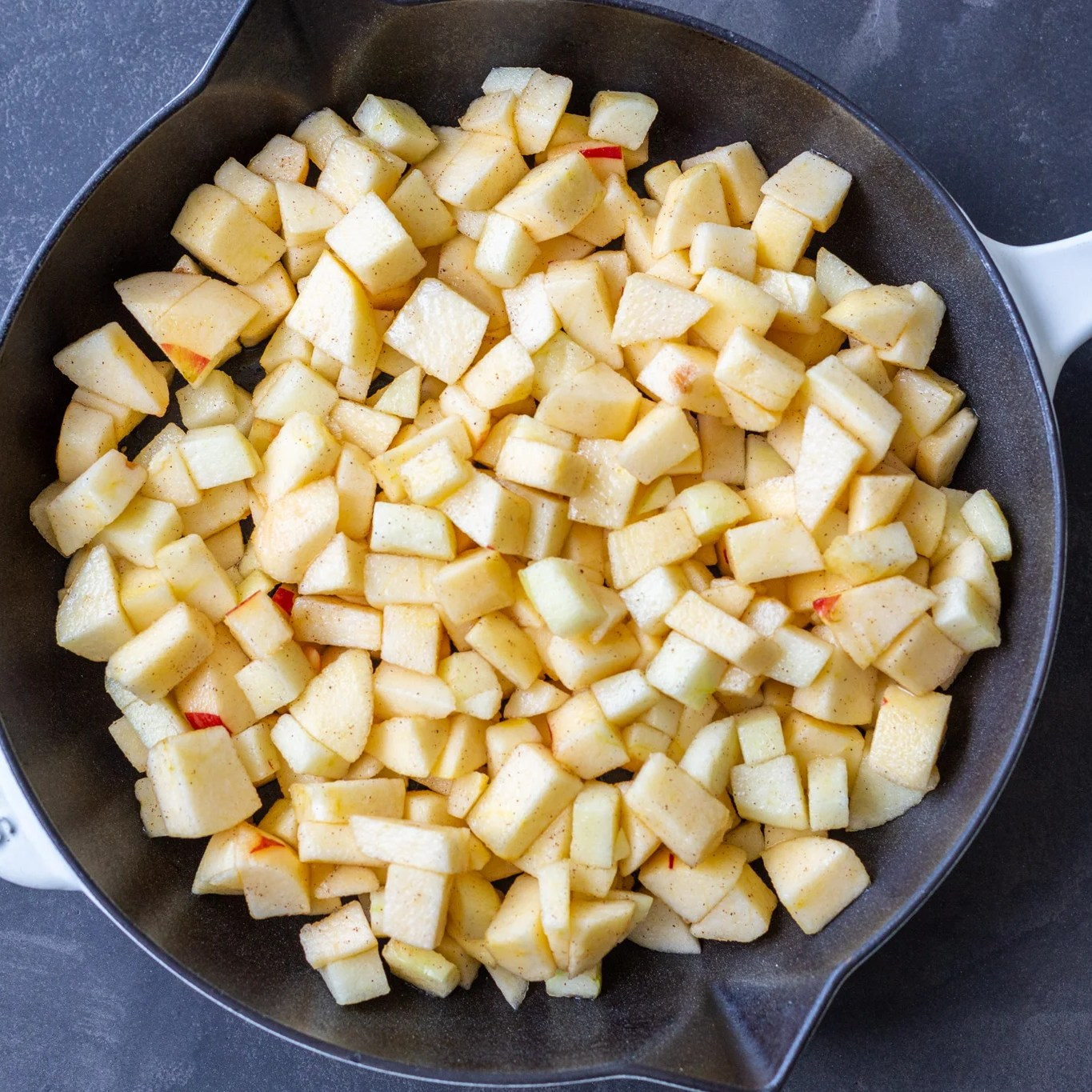 apples pieces in a pan