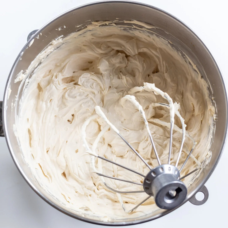 Tiramisu cream in a mixing bowl
