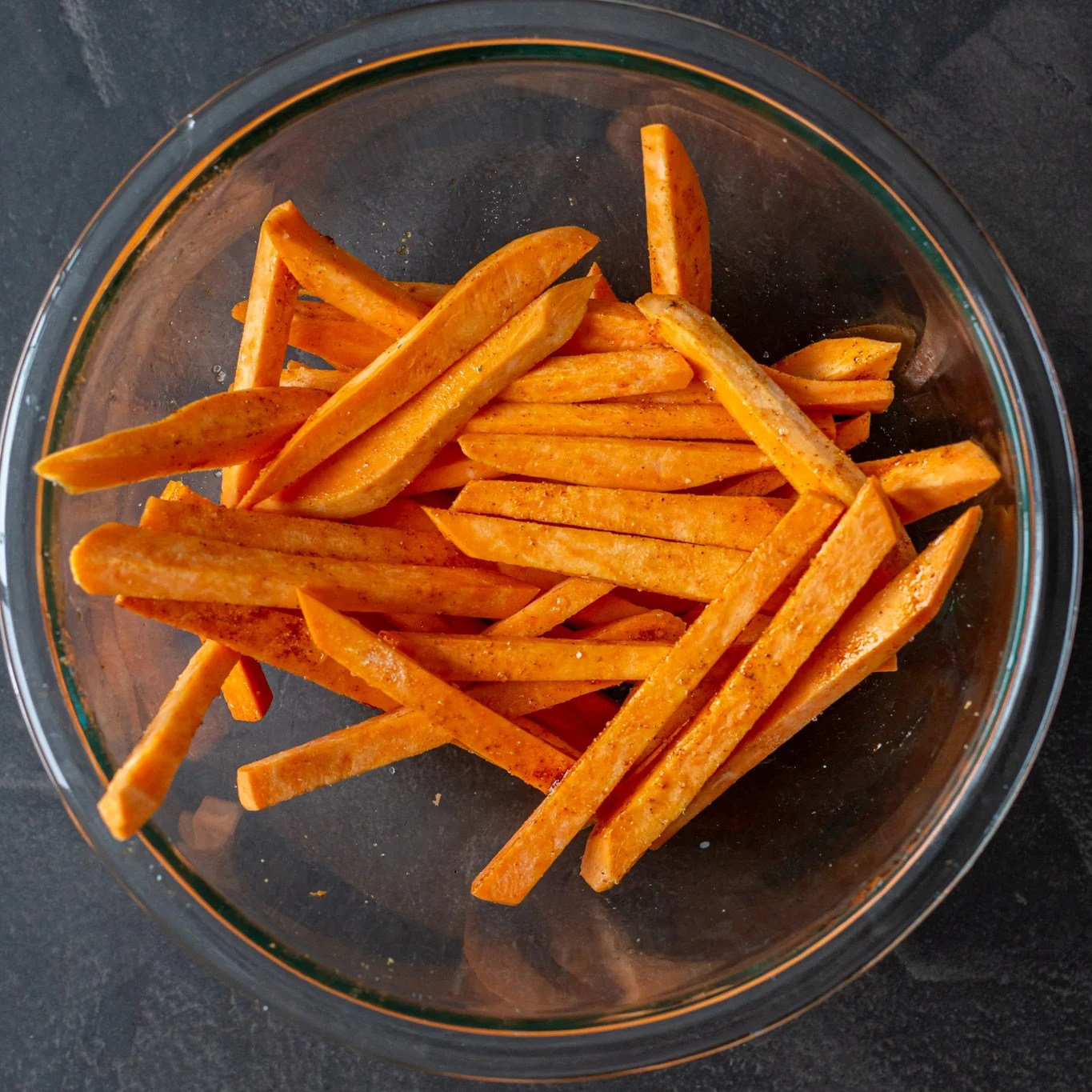 Cut up sweet potatoes in a bowl