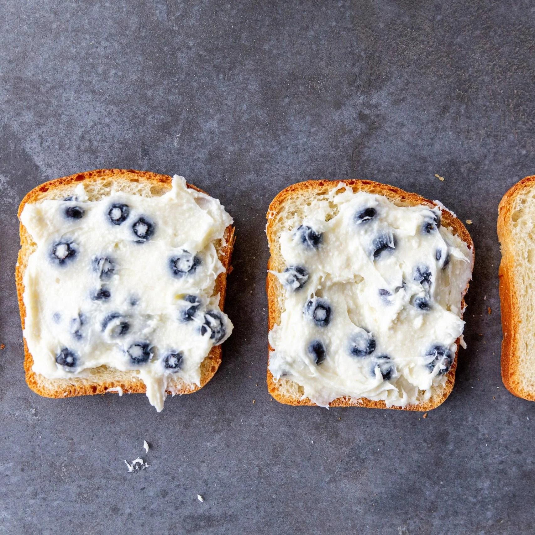 cream cheese on a toast