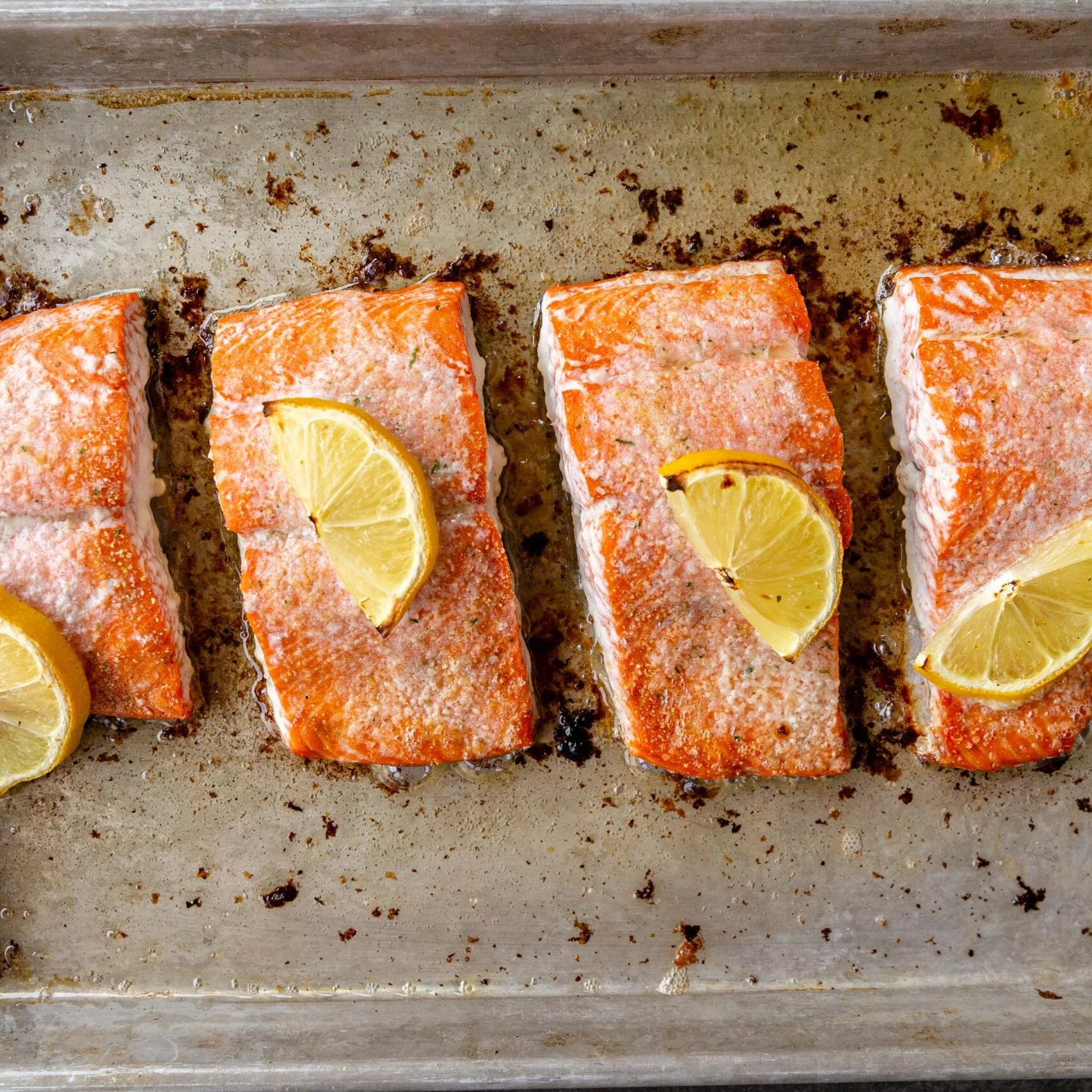 baked salmon on a baking sheet
