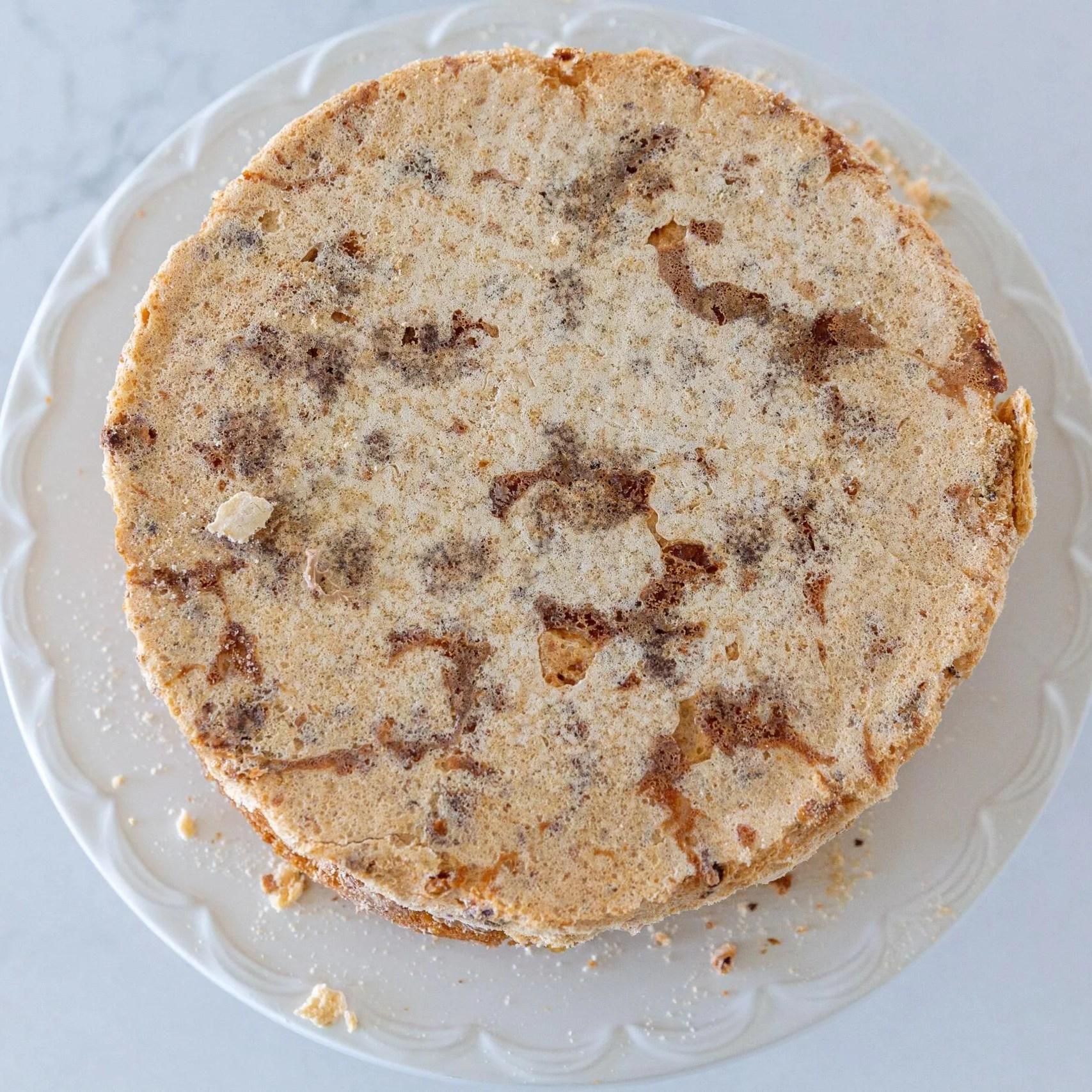 Meringue added to the sponge cake