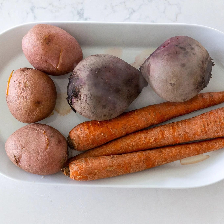 cooked veggies for Russian Vinaigrette Salad