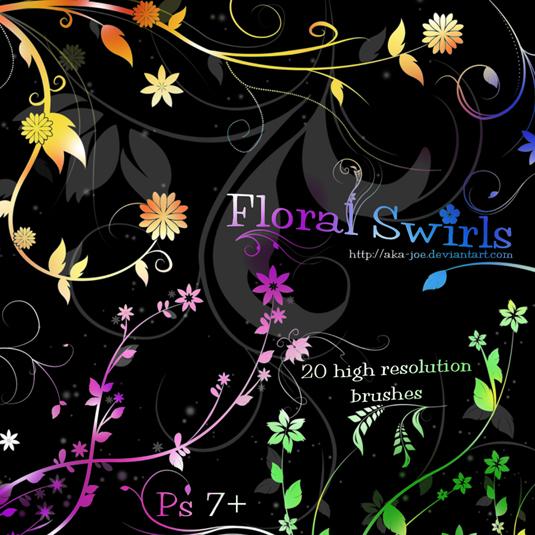 free Photoshop brushes: floral swirls