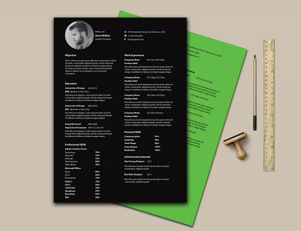 print on a different paper colour for added minimalism with this cv
