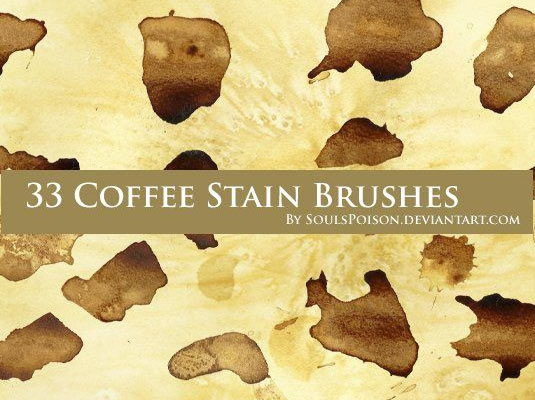free Photoshop brushes: coffee stain