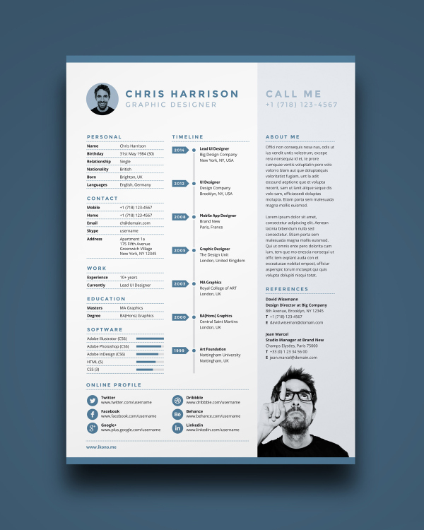 stylish resume template that includes a timeline of your employment