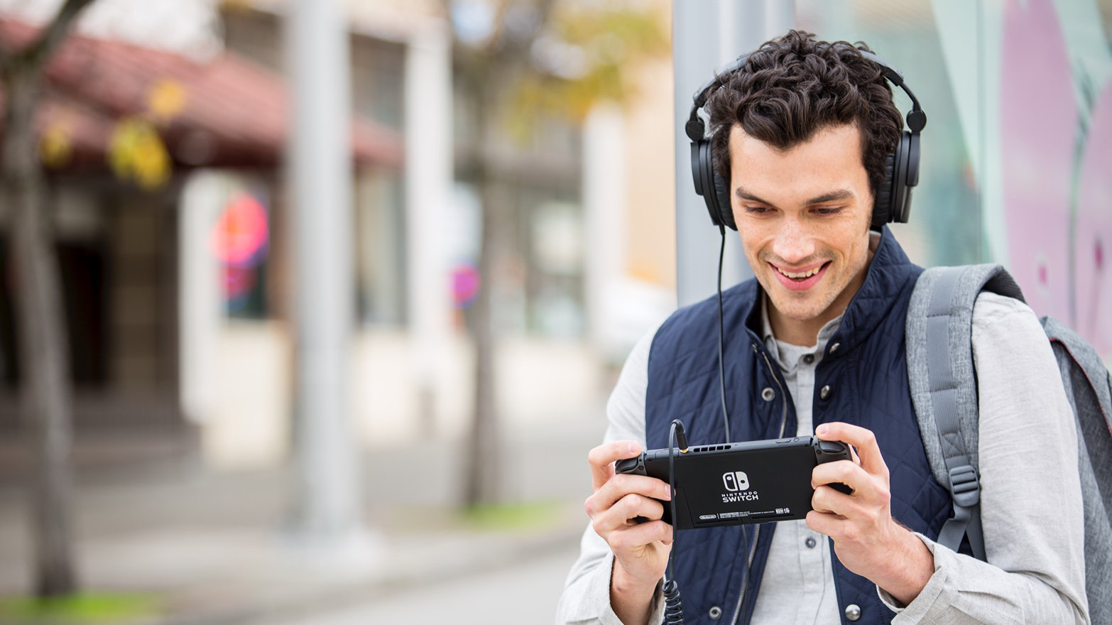 Nintendo Switch gamer with headphones