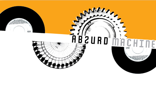 Absurd Machine letterhead features yellow and black vinyl and film roll graphics