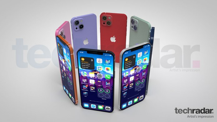 An artist's impression of the iPhone 13 in eight different colors including red, blue and orange
