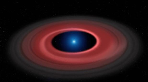 Esta ilustração mostra um anel de partículas de poeira e detritos orbitando o núcleo estelar queimado, chamado de anã branca.