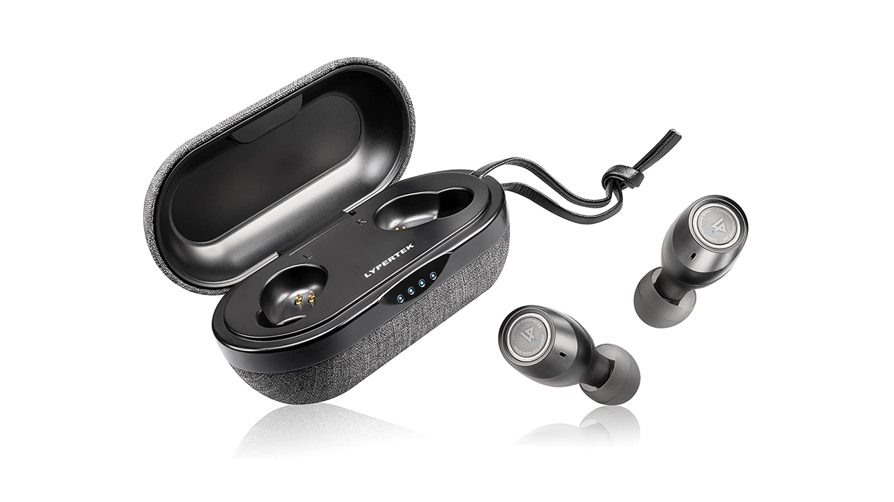 the lypertek pure play z3 2.0 wireless earbuds with their charging case