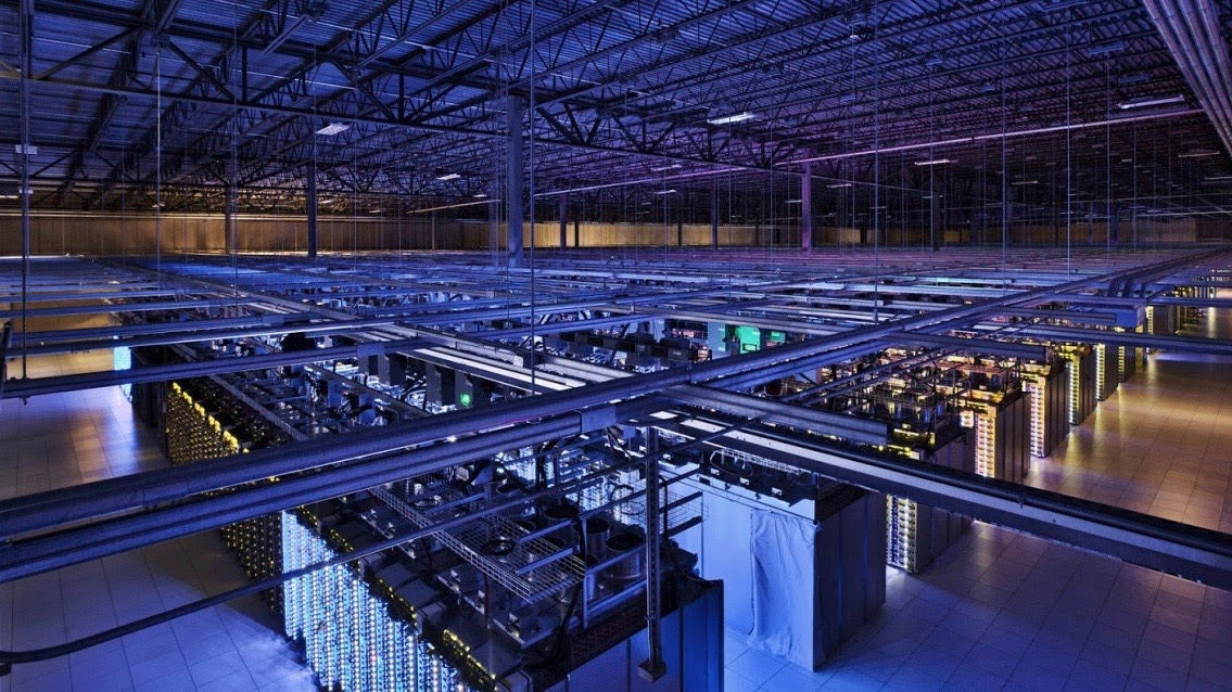 image of a server farm housed in a warehouse