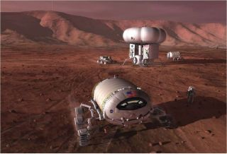 Artist's illustration of a crewed outpost on Mars.