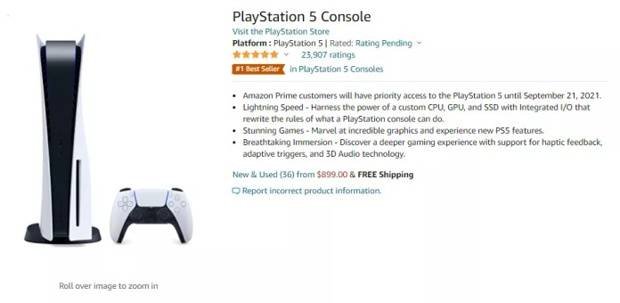Amazon PS5 restock listing page with Prime early access message