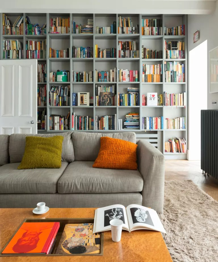 Living room with grey shelving and sofa