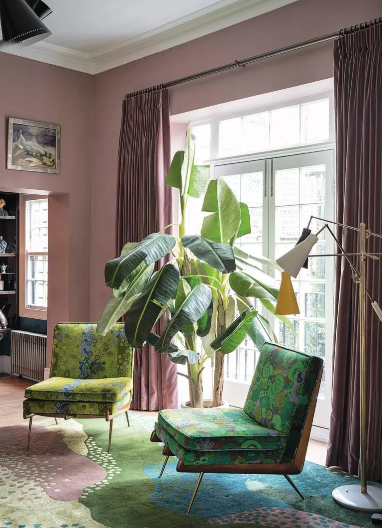 Pink living room with house plants