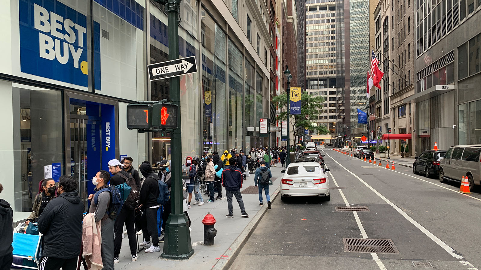 A Line Of Customers Hoping To Buy An RTX 3080 Ti Extending Down West 44th Street In Manhattan