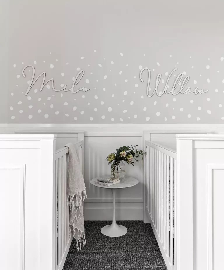 White and grey twin nursery ideas by Veronica King