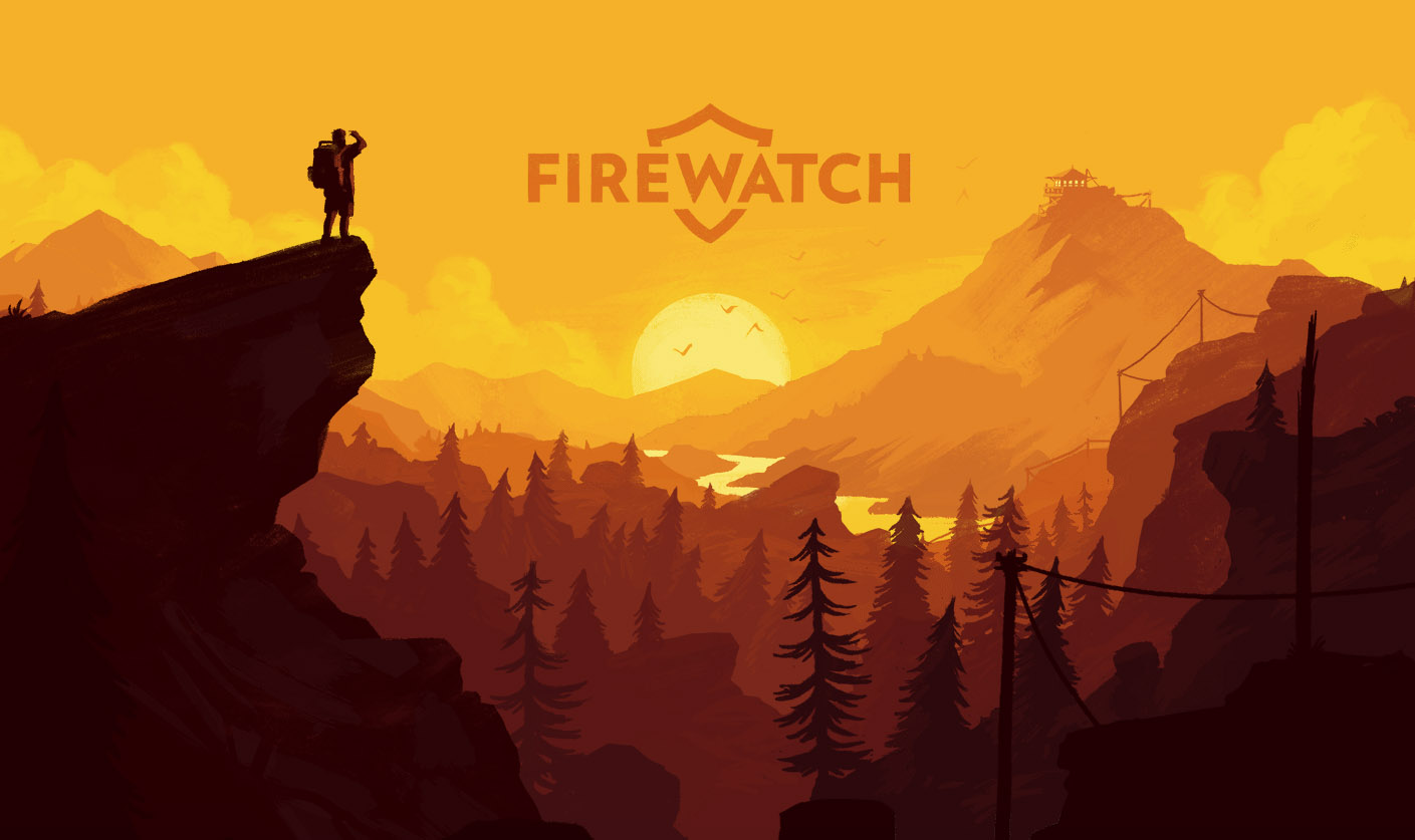 Screenshot of Firewatch website shows an illustration of a hiker looking over a golden canyon at dawn