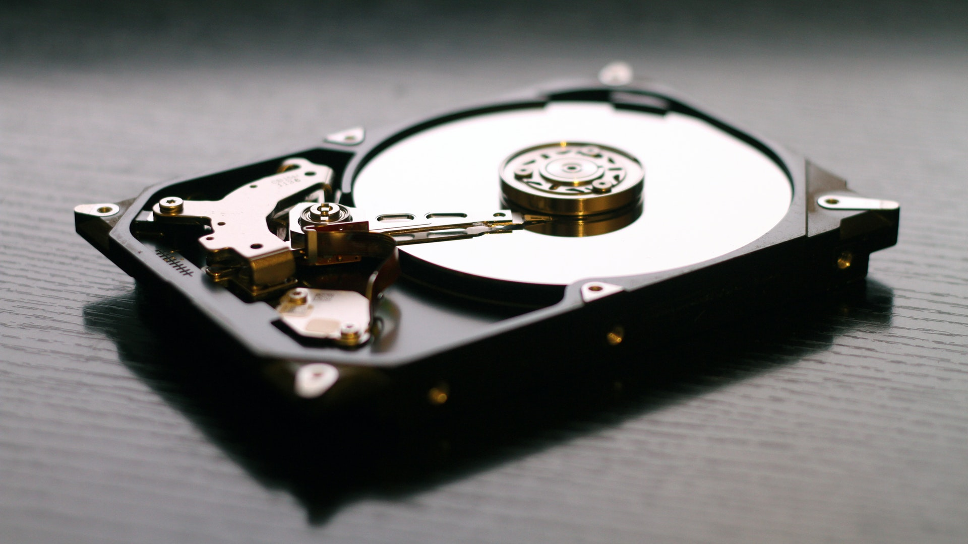 Hard drive on table