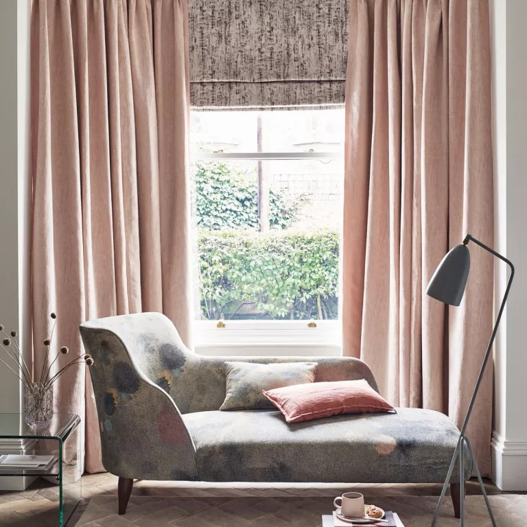 Blush curtains and roman shade bay window window treatments with blue patterned chaise longue