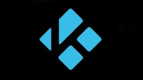 A picture of the Kodi logo blue on a black background