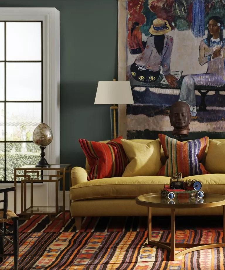 Interior designers favorite shade of green paint, green living room