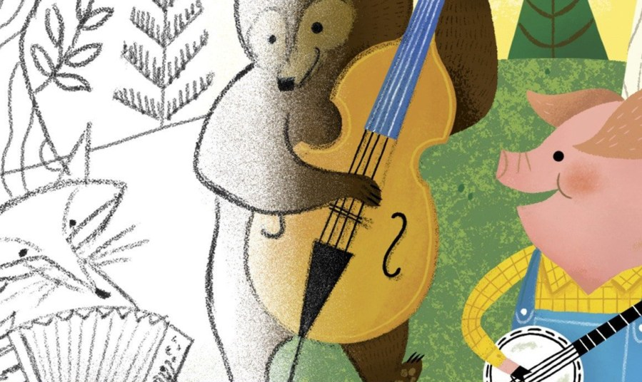 A split-screen image of a fox, bear and pig playing musical instruments. The left is a black-and-white pencil sketch; the right is painted in colour