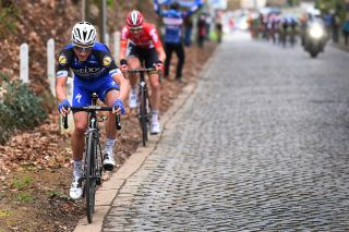 Julian Alaphilippe (Etixx-Quickstep) and TIm Wellens (Lotto Soudal) attack the Hertstraat climb