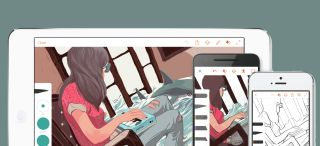 Drawing apps for iPad: Illustration of a girl playing the keyboard on multiple devices