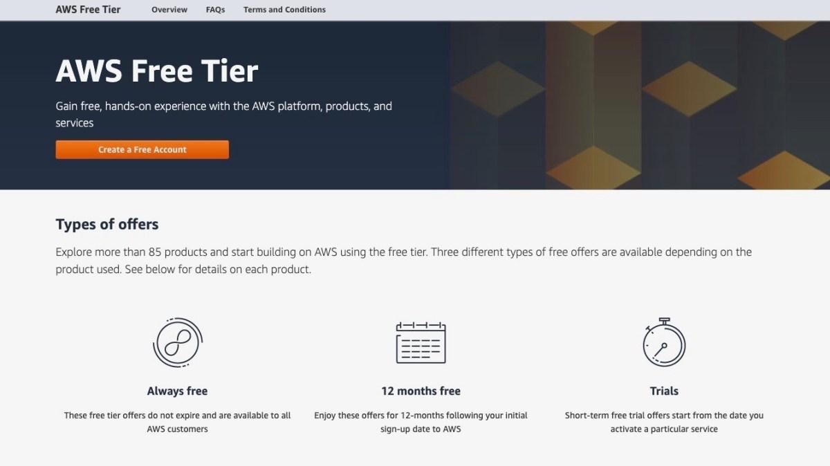 Amazon Web Services' free service webpage